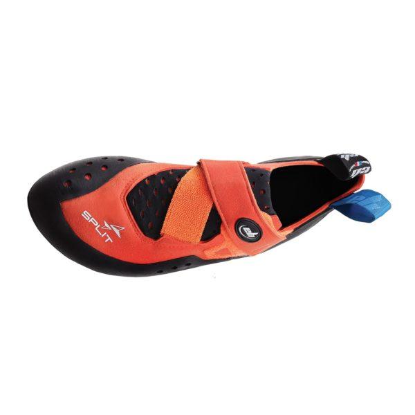 Split left shoe top